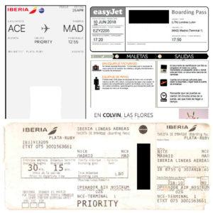 Tarjetas de embarque de diferentes aerolíneas